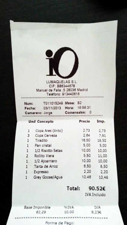 Restaurante IO - Cuenta