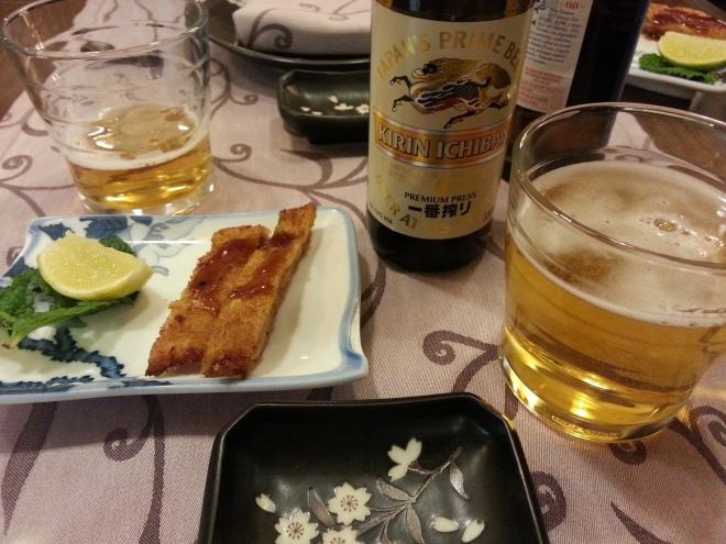 Cerveza Kirin y aperitivo