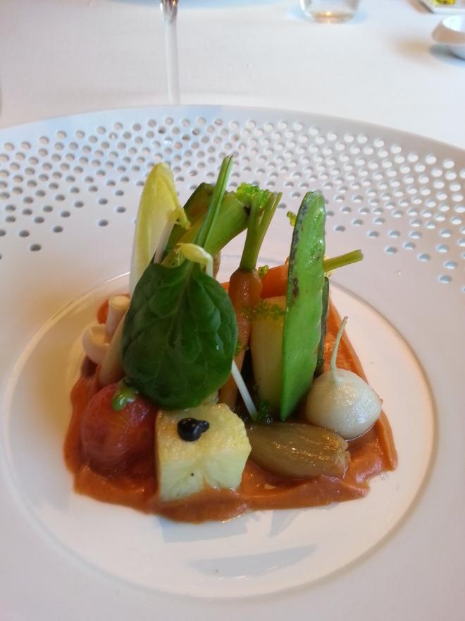 Verduras a la parrilla con crema de verduras