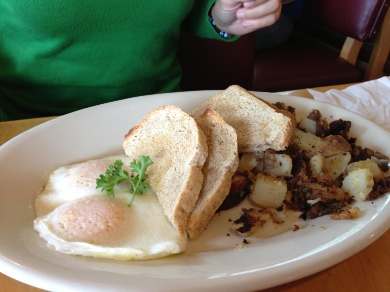 Huevos, pan y patatas