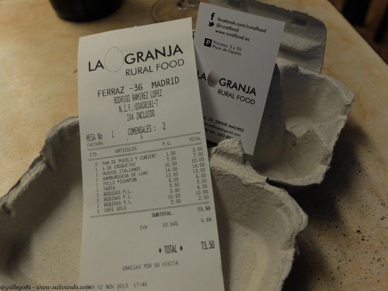 La Granja Rural Food - Cuenta