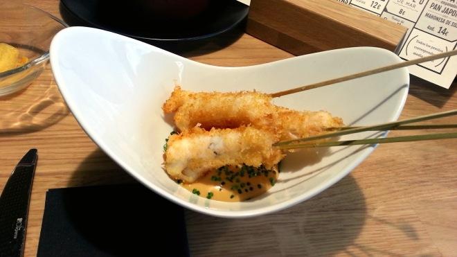 Restaurante Alabaster - Cigalas con rebozado japonés y mayo de soja