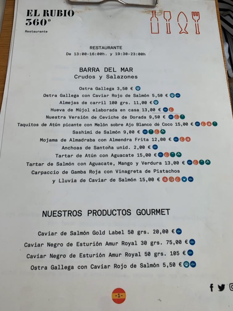 El Rubio 360 - Carta